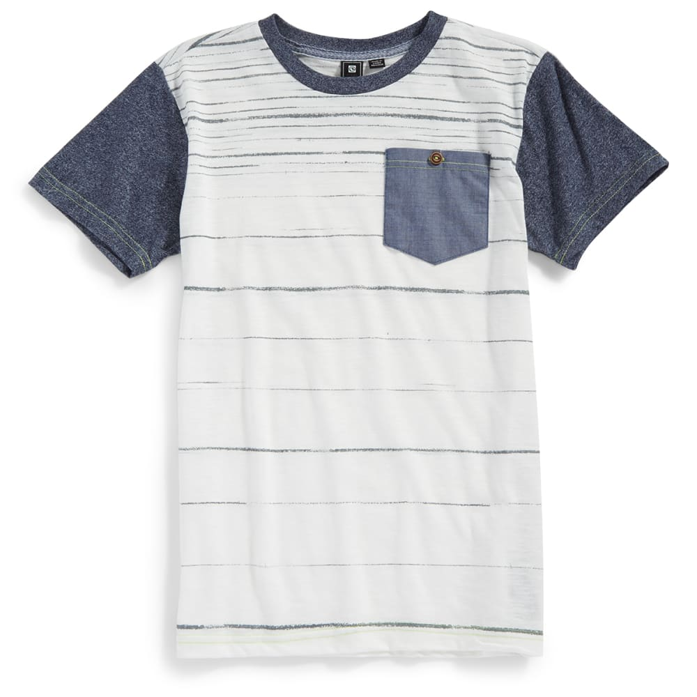 OCEAN CURRENT Boys' Specialist Stripe Chambray Pocket Crewneck Short-Sleeve Tee - INDIGO