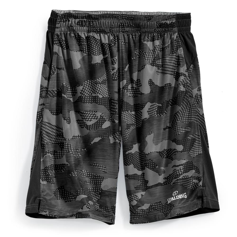 SPALDING Men's Poly Interlock Camo Basketball Shorts - GREY CAMO/BLK-020