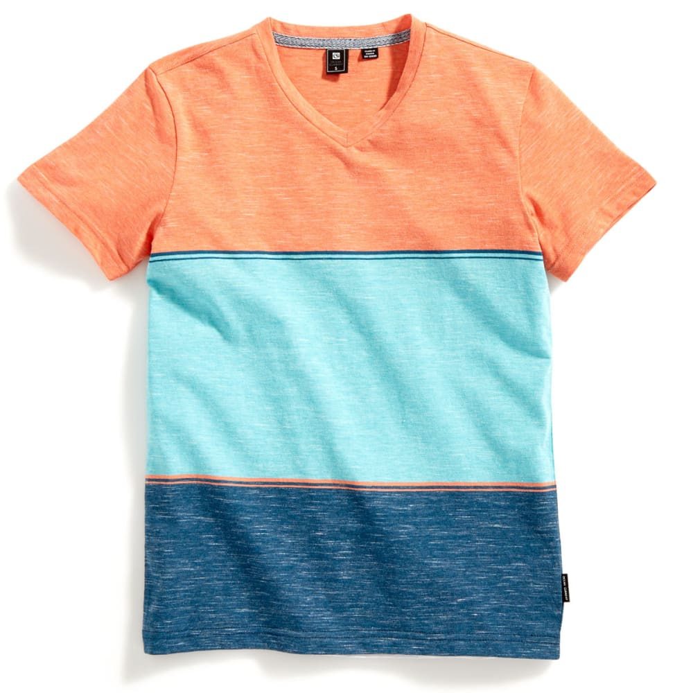OCEAN CURRENT Boys' Elite Color-Block Stripe V-Neck Short-Sleeve Tee - FROZEN