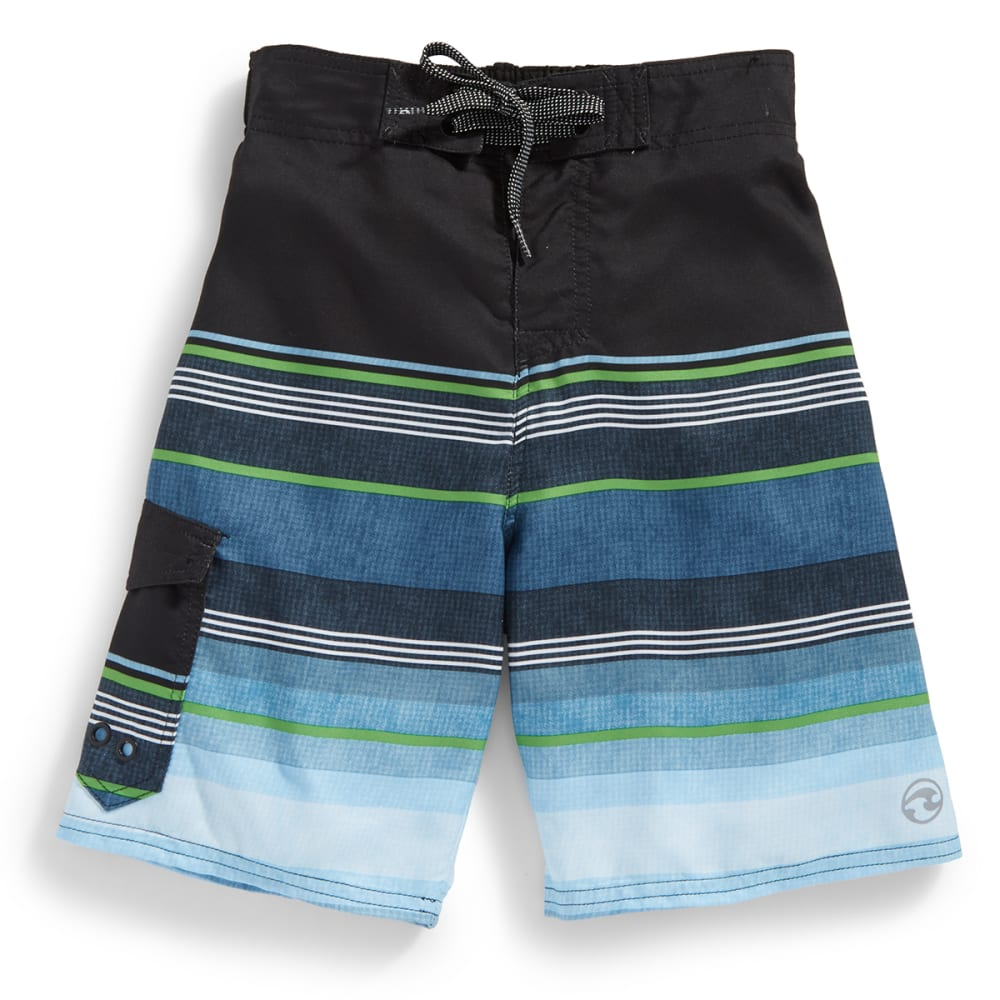 OCEAN CURRENT Boys' Super Stripe Printed Boardshorts - GREEN