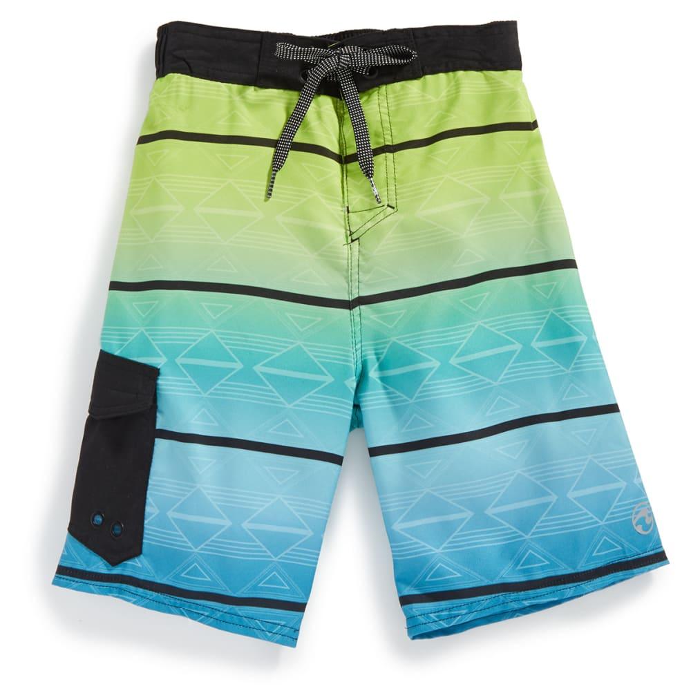 OCEAN CURRENT Boys' Aztec Stripe Printed Boardshorts - BLACK