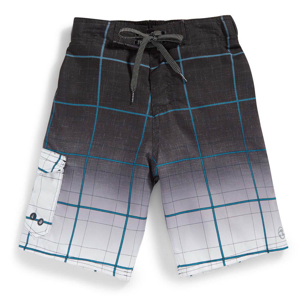 OCEAN CURRENT Boys' Gradstripe Plaid Printed Boardshorts - GREY