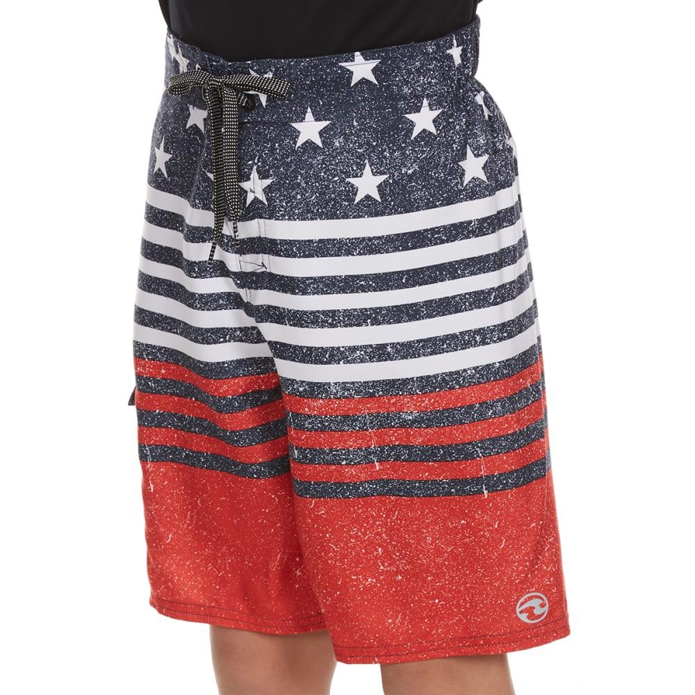 OCEAN CURRENT Boys' Patriot Printed Boardshorts - NAVY