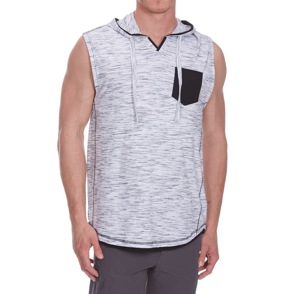 Distortion Guys Hooded Muscle Pocket Top - White, S