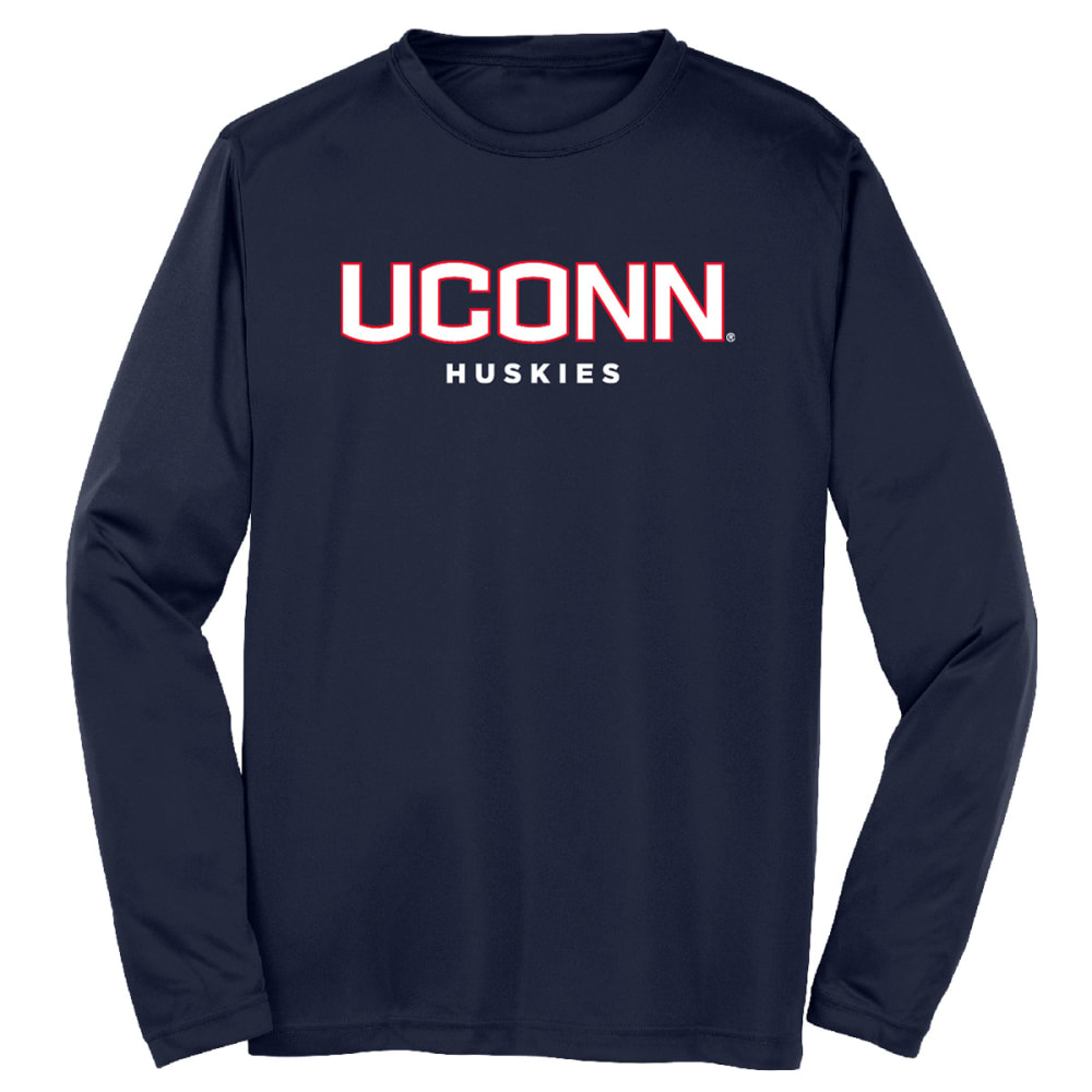 Uconn Men's Standard Performance Long-Sleeve Tee - Blue, M