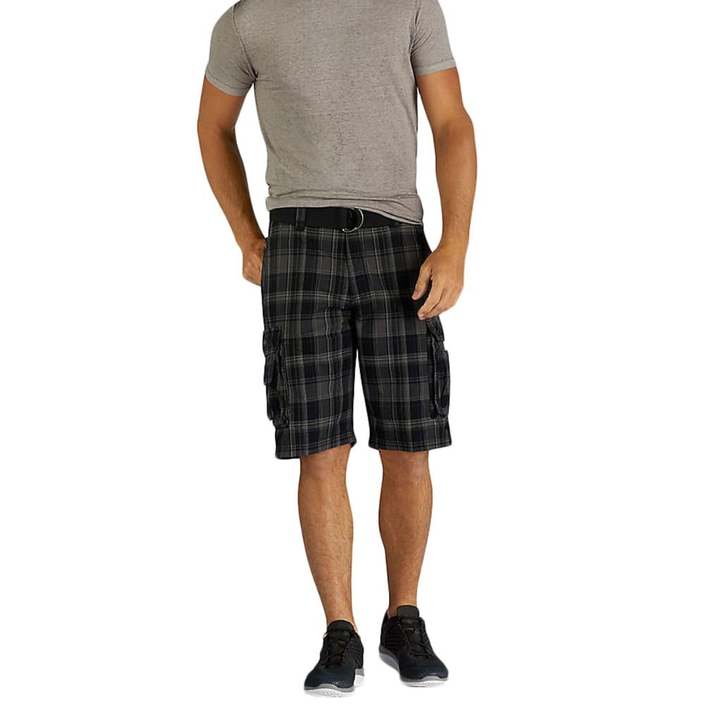 LEE Men's Wyoming Plaid Cargo Shorts - Black, 36