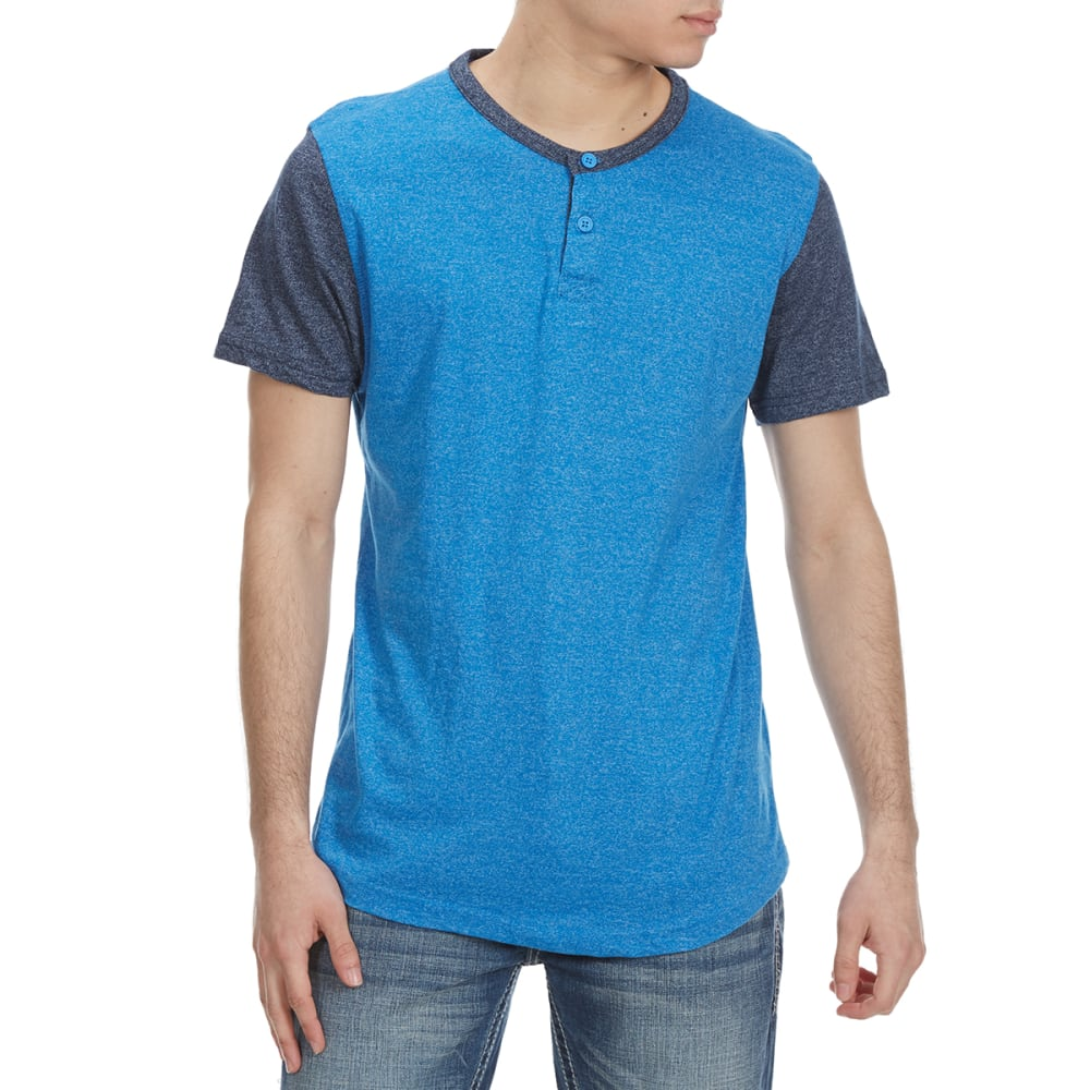 ALPHA BETA Guys' Baseball Henley Short-Sleeve Tee - DAPHNE/NAVY