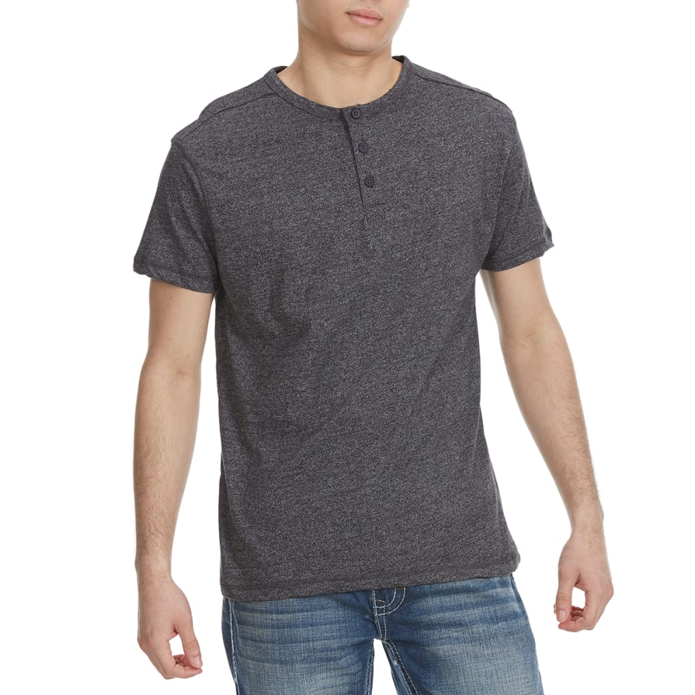ALPHA BETA Guys' Henley Short-Sleeve Tee - CHARCOAL