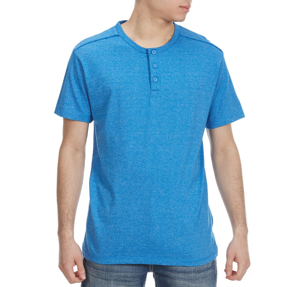 Alpha Beta Guys Henley Short-Sleeve Tee - Blue, S