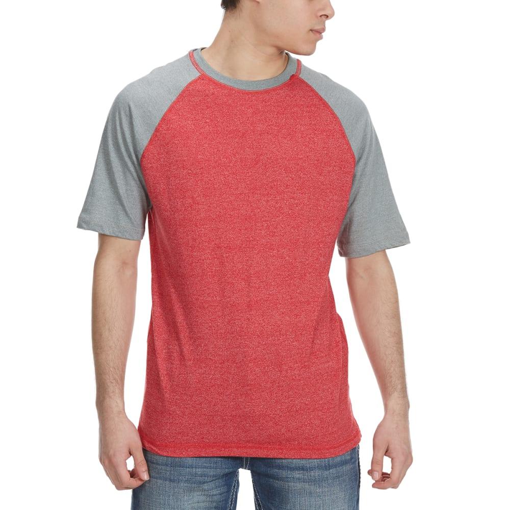ALPHA BETA Guys' Baseball Crew Short-Sleeve Tee - TRU RED/GHOST GRY