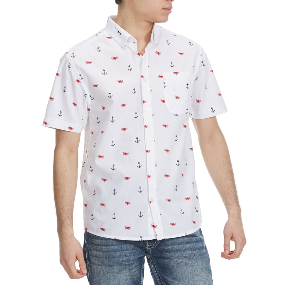 ALPHA BETA Guys' Printed Woven Short-Sleeve Shirt - ANCHORS/CRABS-JP647