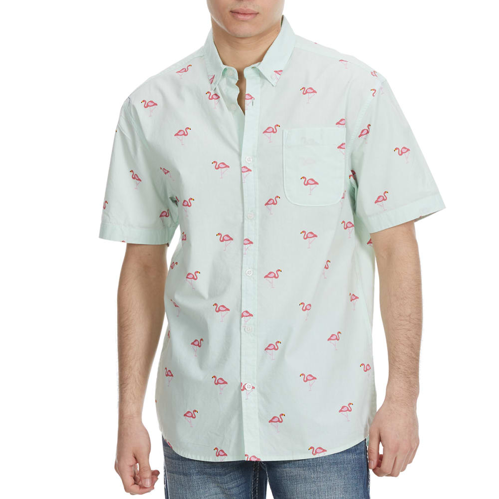 ALPHA BETA Guys' Printed Woven Short-Sleeve Shirt - FLAMINGOS-JP525