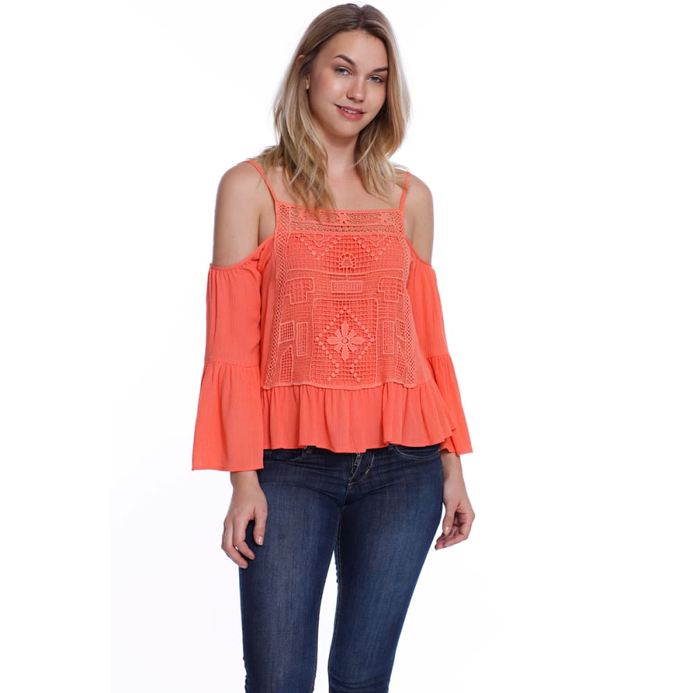 TAYLOR & SAGE Juniors' Cold-Shoulder Embroidered Long-Sleeve Top - SPF-SPICE FLOWER