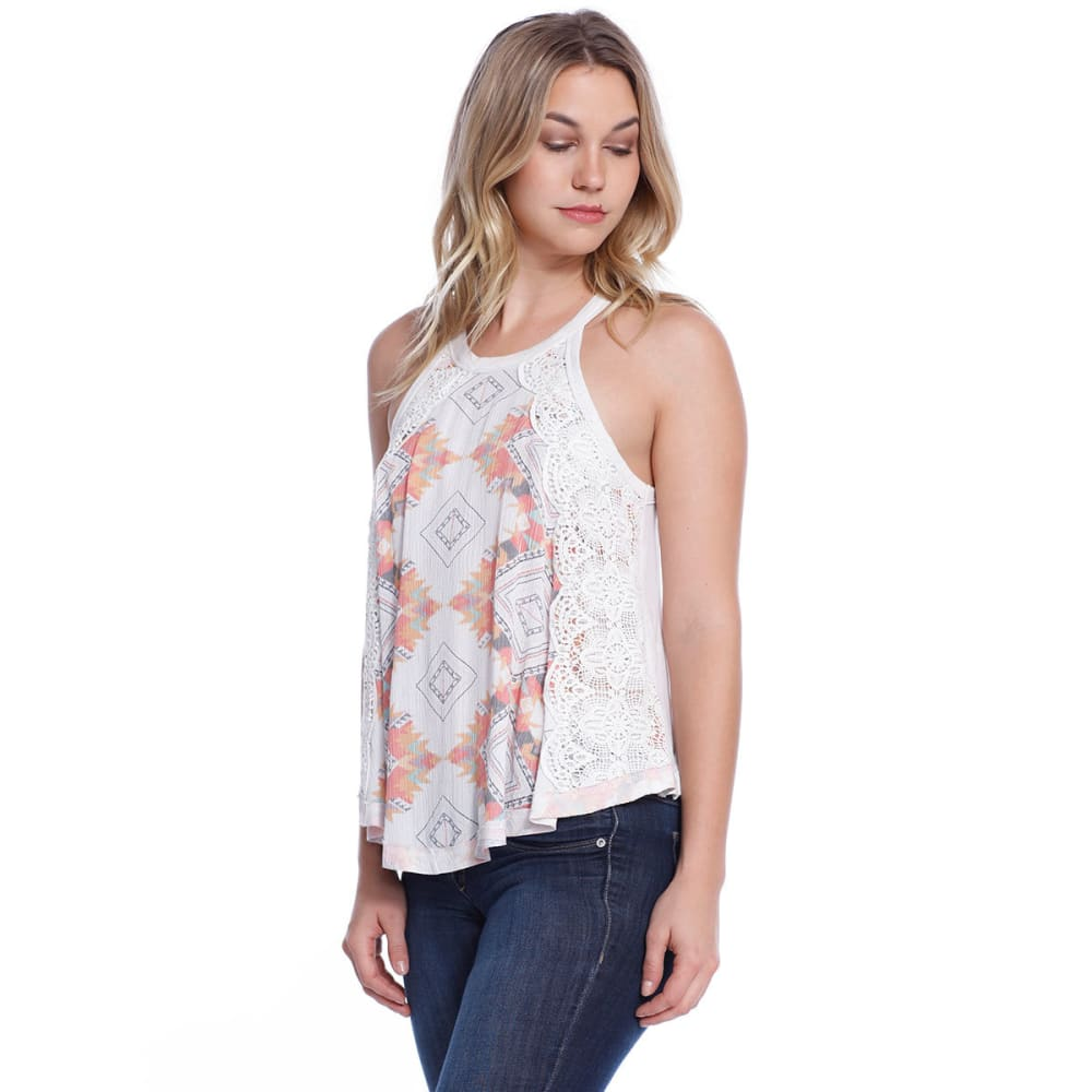 TAYLOR & SAGE Juniors' Floral Lace Hi-Neck Tank - MWH-MEADOW WHITE