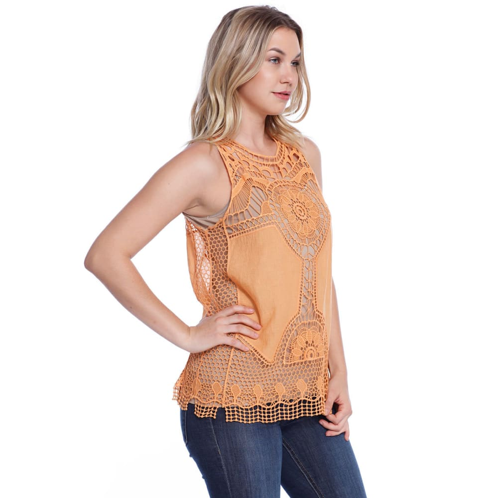 TAYLOR & SAGE Juniors' Crochet Detail Tank - ORS-ORANGE SPICE