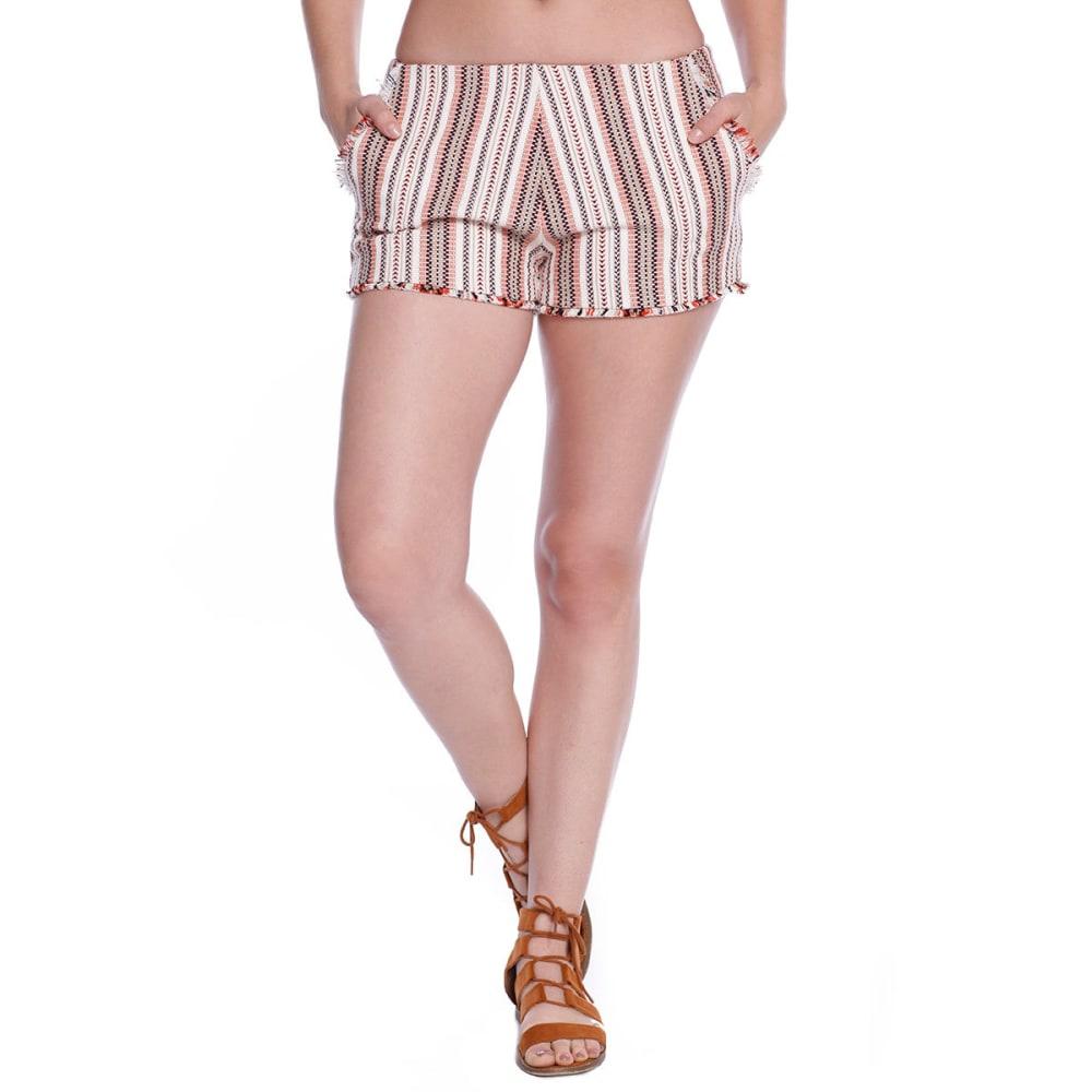 TAYLOR & SAGE Juniors' Stripe Shorts - NAT - NATURAL