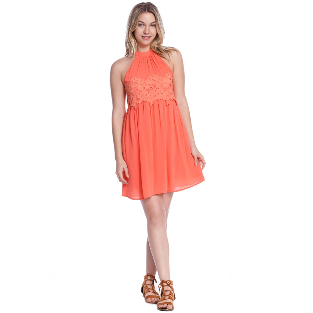 TAYLOR & SAGE Juniors' Lace Applique High-Neck Dress - DAY-DAYLILY