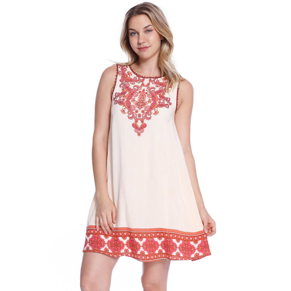 TAYLOR & SAGE Juniors' Border Print Open Back Dress - PEH-PEACH HAZE