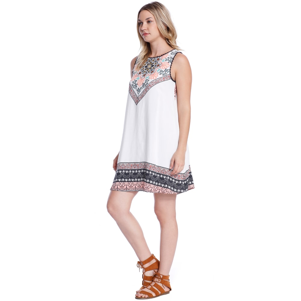 TAYLOR & SAGE Juniors' Border Print Open Back Dress - NAT-NATURAL