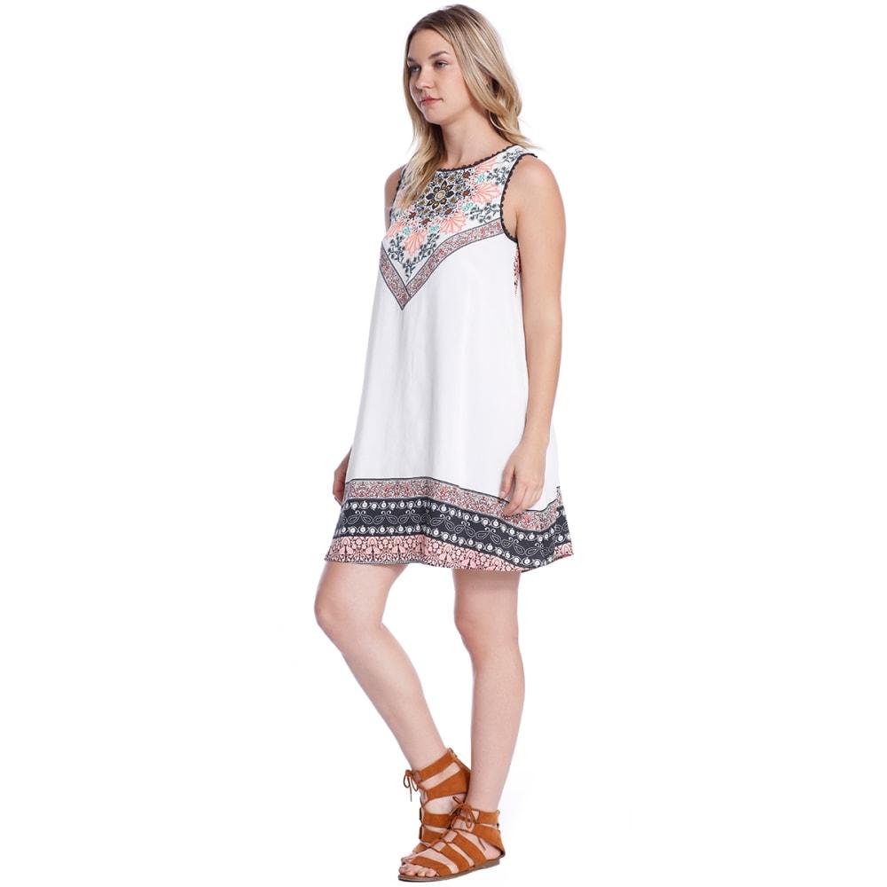 TAYLOR & SAGE Juniors' Border Print Open Back Dress - NAT-NATURAL