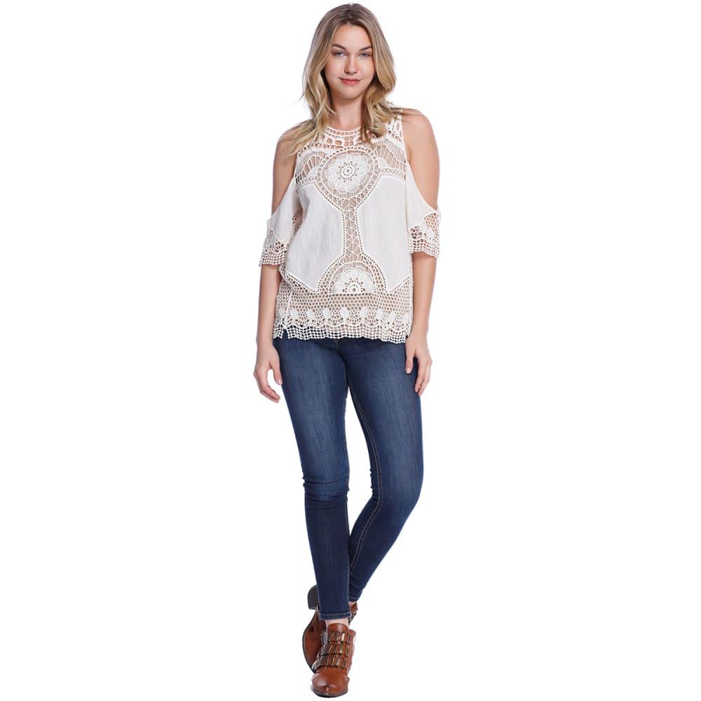 TAYLOR & SAGE Juniors' Short Sleeve Crochet Cold Shoulder Top - NAT-NATURAL