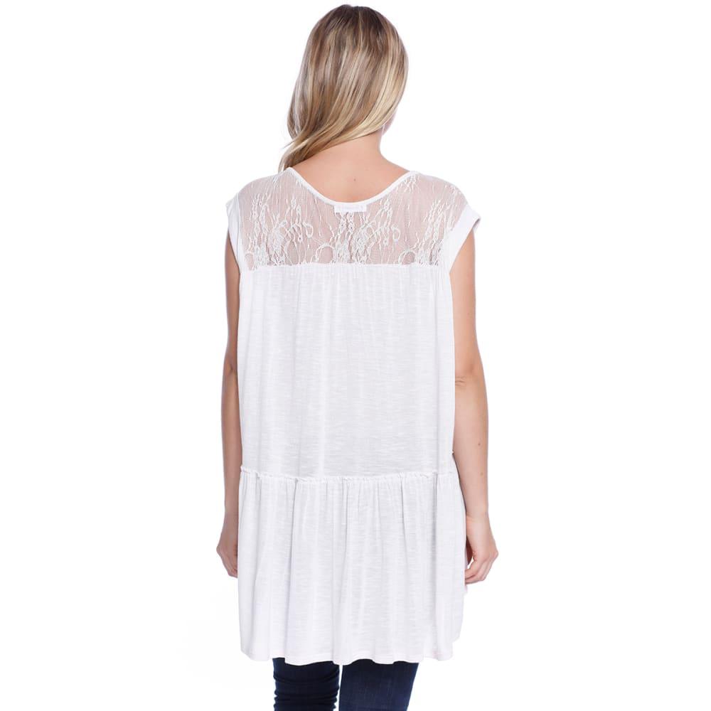 TAYLOR & SAGE Juniors' Lace Back Peplum Short-Sleeve Top - WRO-LIGHT ROSE