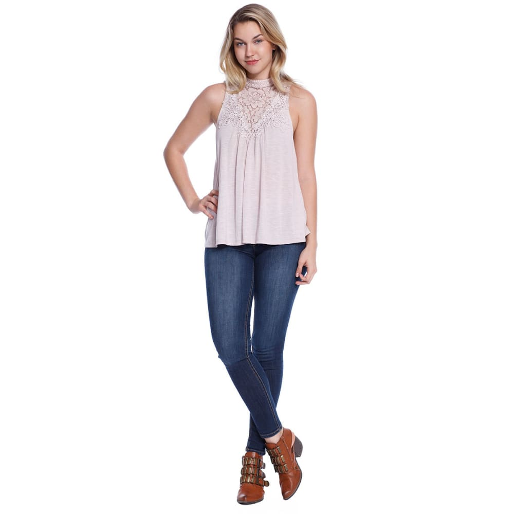 TAYLOR & SAGE Juniors' Hi-Neck Lace Tank - DUS-DUSTED PINK