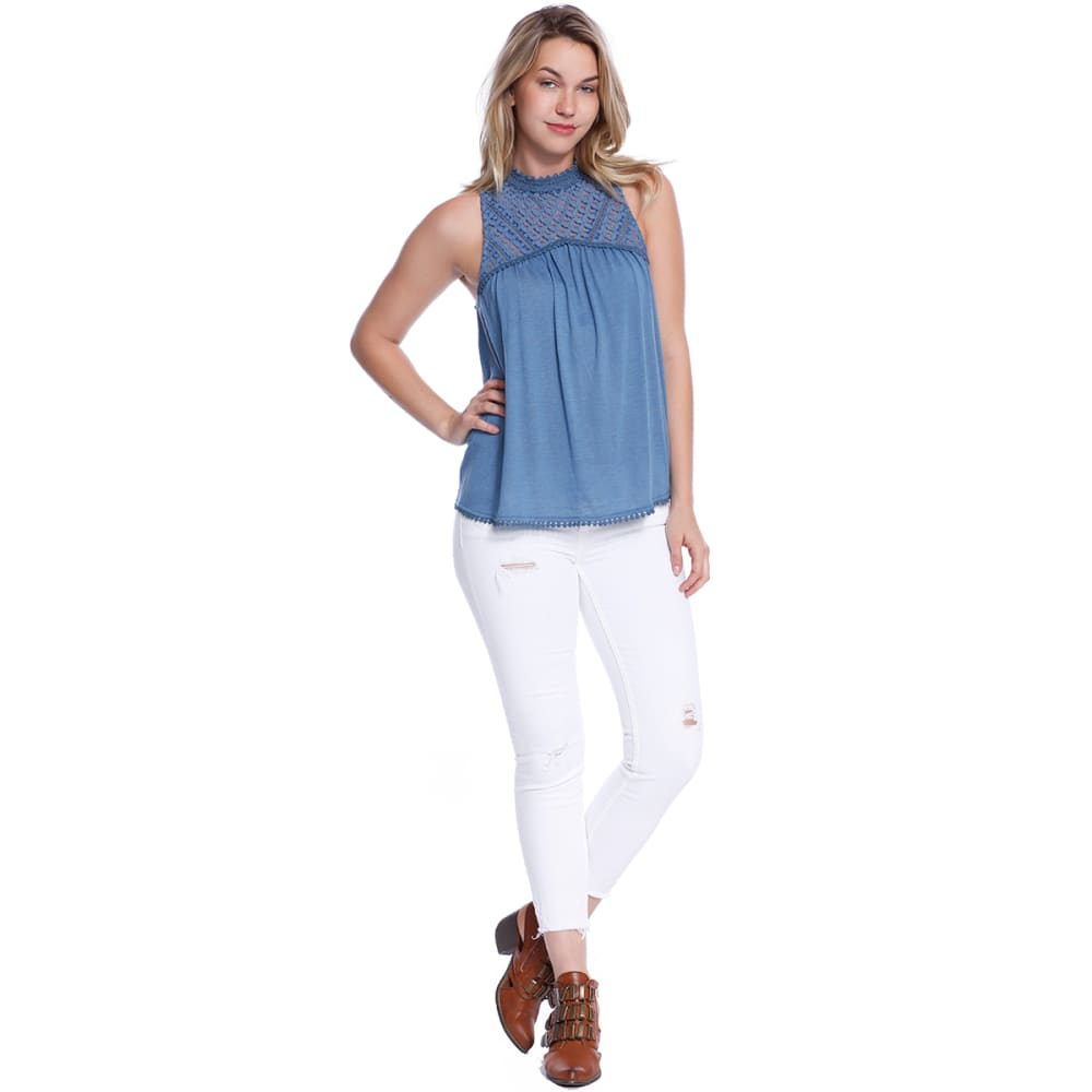 TAYLOR & SAGE Juniors' Patterned Lace High-Neck Tank - RAF-RAINFALL