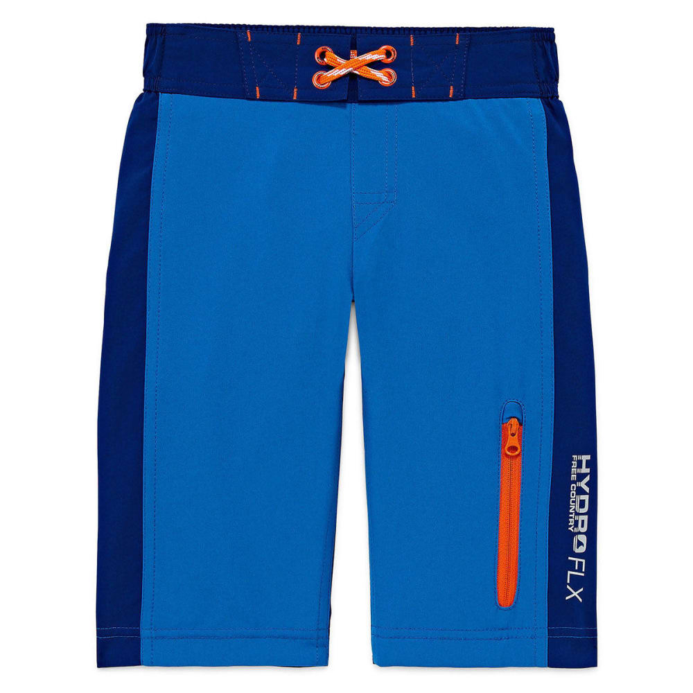 FREE COUNTRY Boys' Solid Color-Block Four-Way Stretch Boardshorts - ELECTRIC BLUE/BLUWAV
