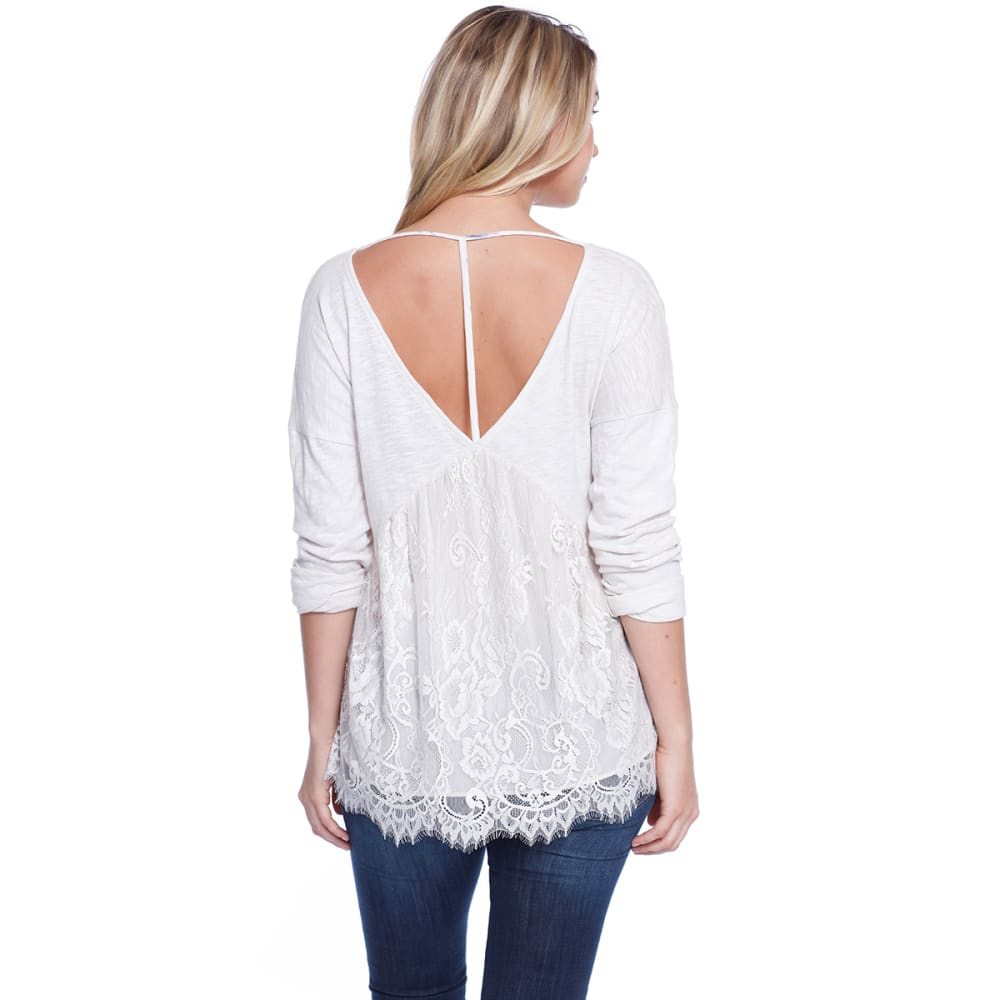 TAYLOR & SAGE Juniors' Lace Peplum Strap Back Long-Sleeve Top - WRO-WHITE ROSE