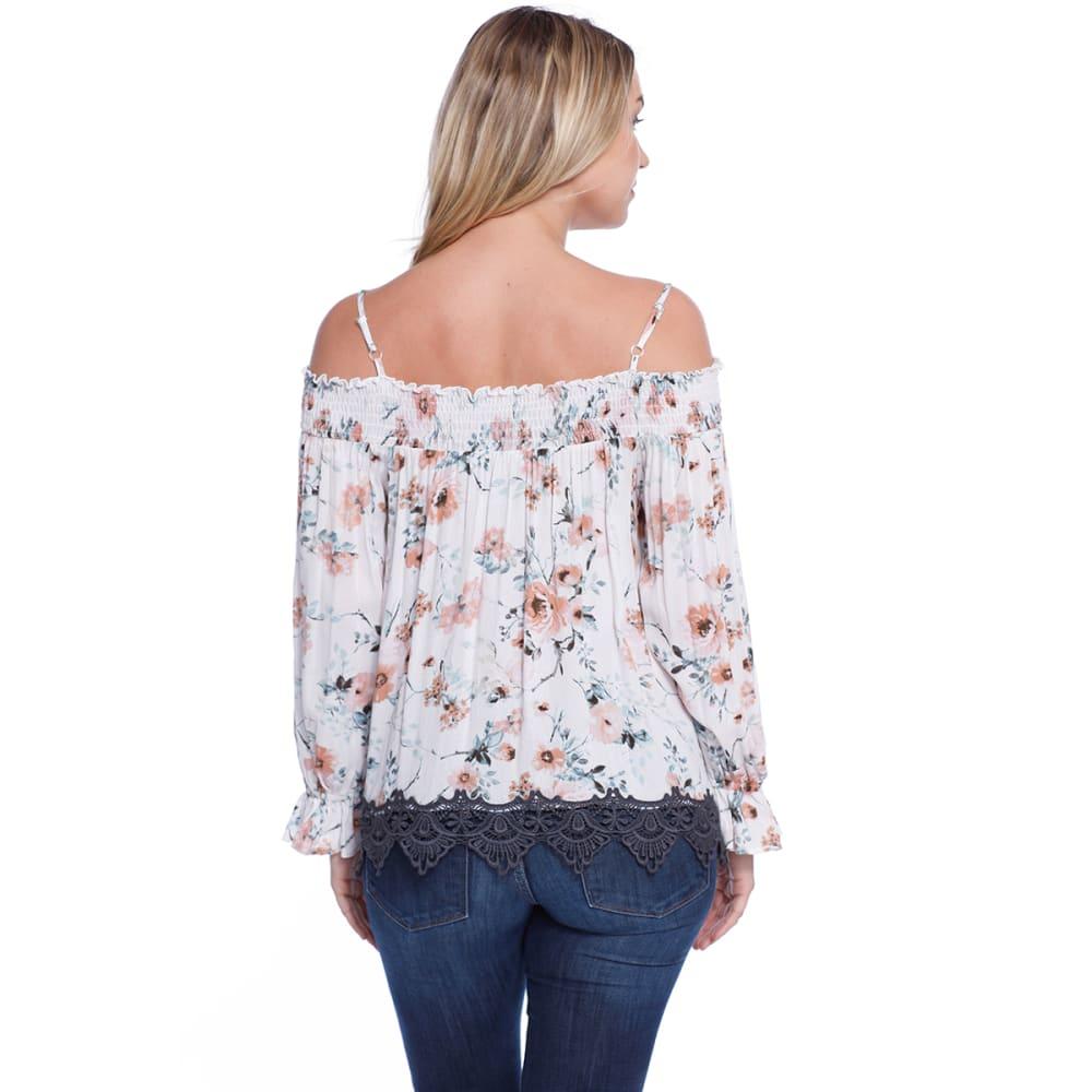 TAYLOR & SAGE Juniors' Floral Print Cold-Shoulder Smocked Long-Sleeve Top - NAT-NATURAL