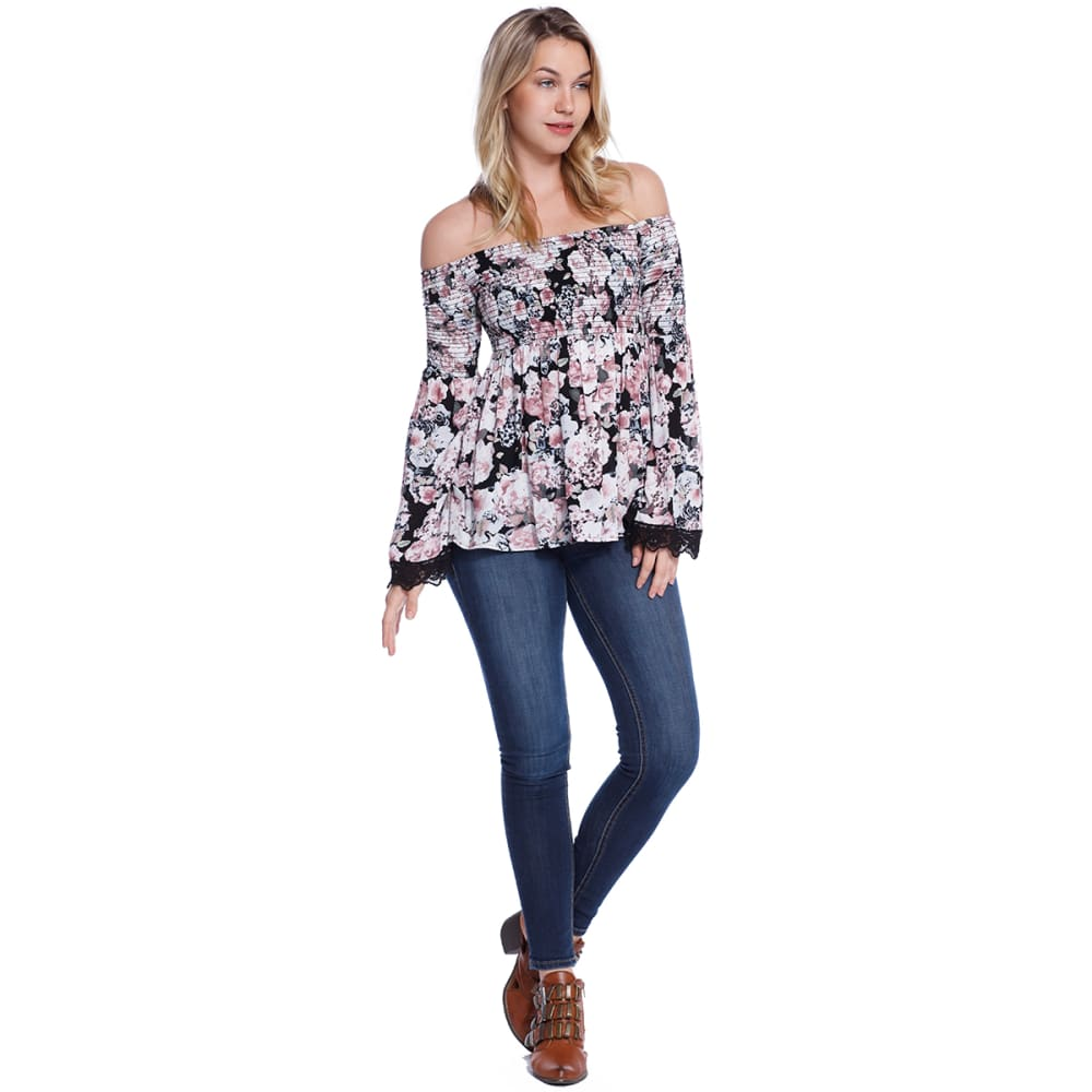 TAYLOR & SAGE Juniors' Printed Off-Shoulder Smocked Long-Sleeve Top - DAI-DARKEST INDIGO