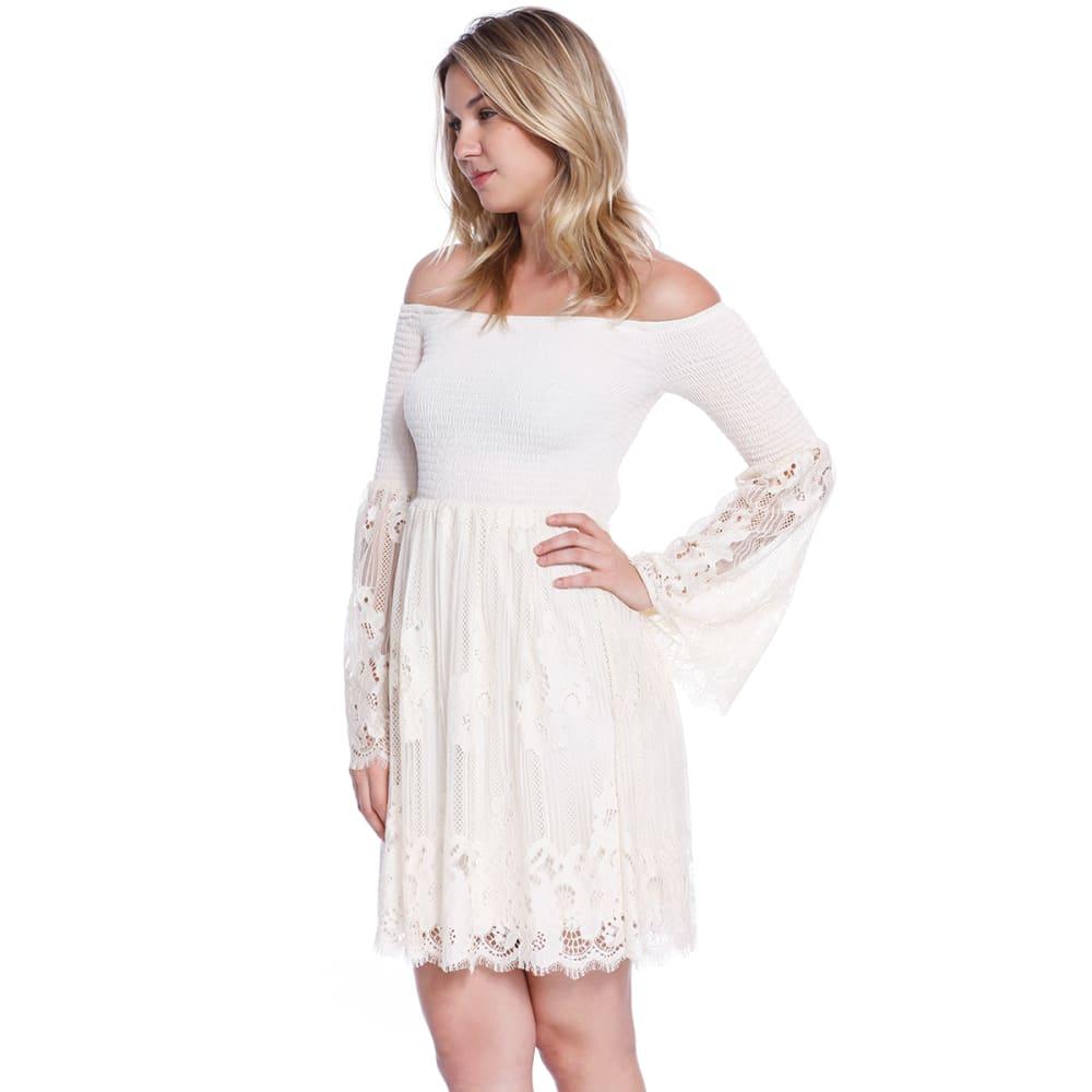 TAYLOR & SAGE Juniors' Lace Smocked Off The Shoulder Dress - NAT-NATURAL