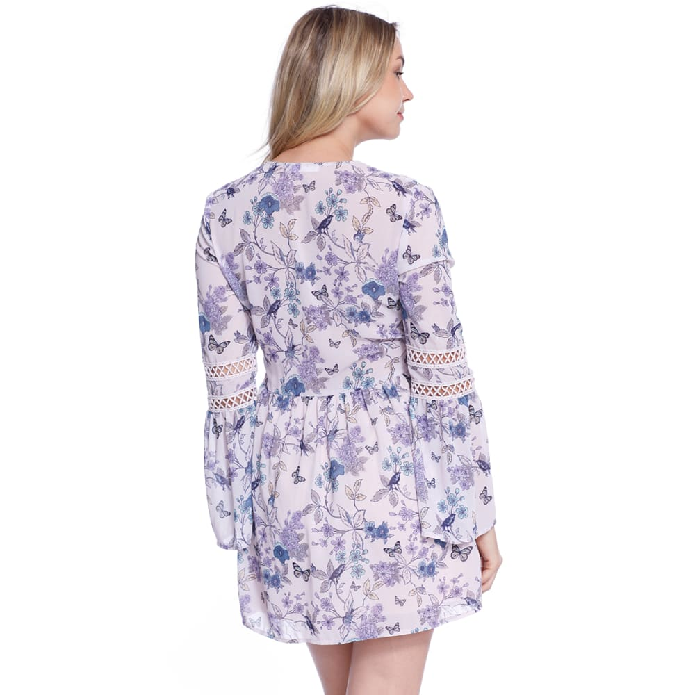 TAYLOR & SAGE Juniors' Long Sleeve Floral Boho Dress - LPK-LIGHT PINK