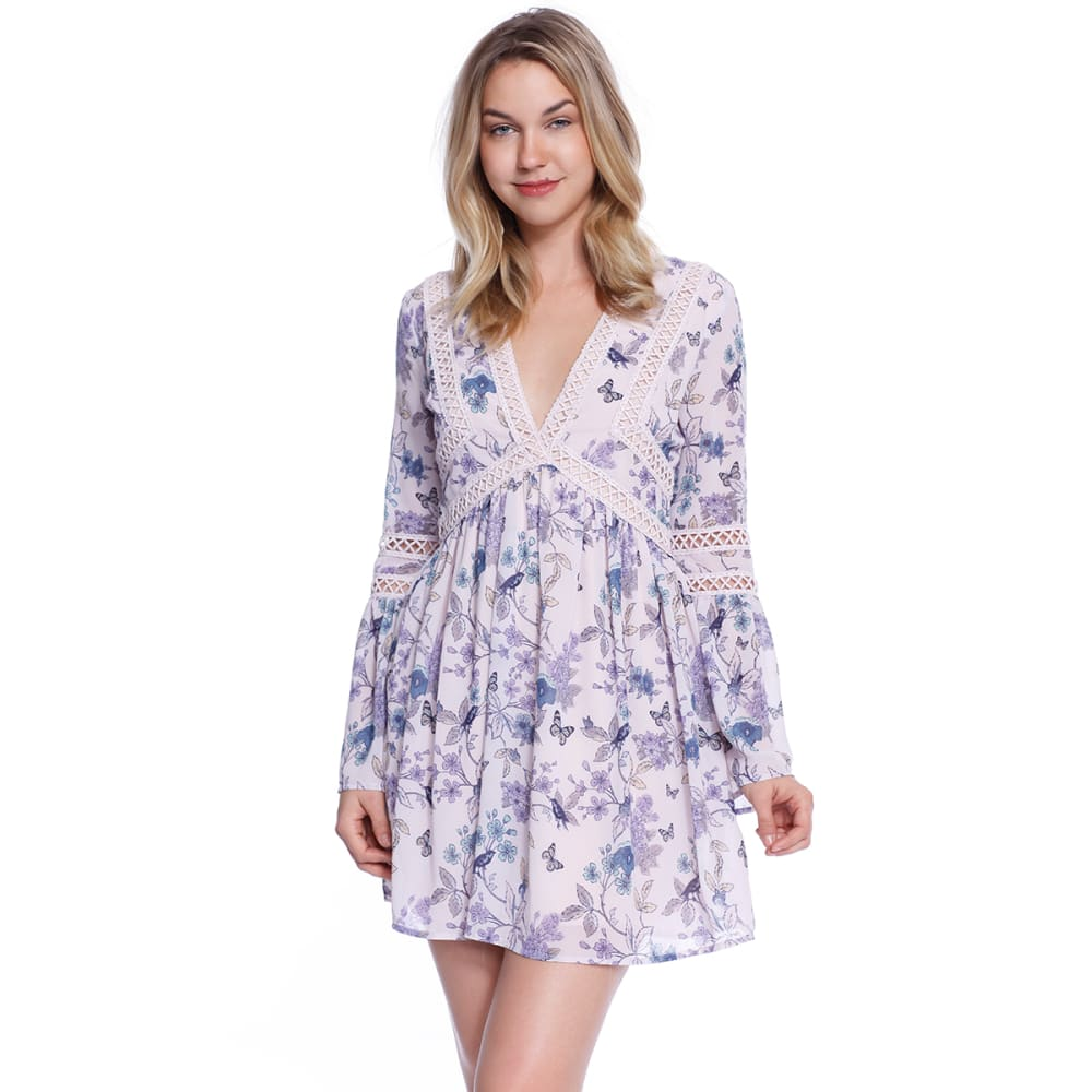 TAYLOR & SAGE Juniors' Long Sleeve Floral Boho Dress - LPK-LIGHT PINK