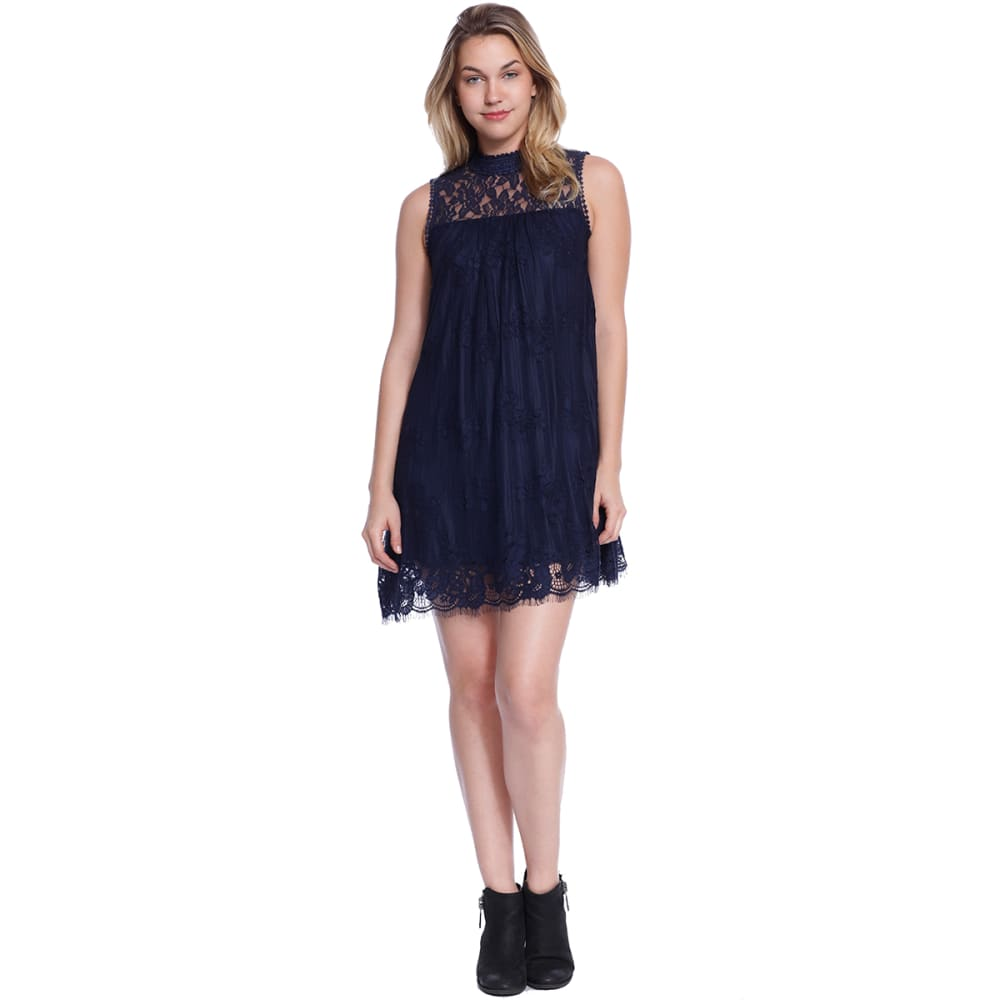 TAYLOR & SAGE Juniors' Hi-Neck Lace Dress - DAI-DARKEST INDIGO