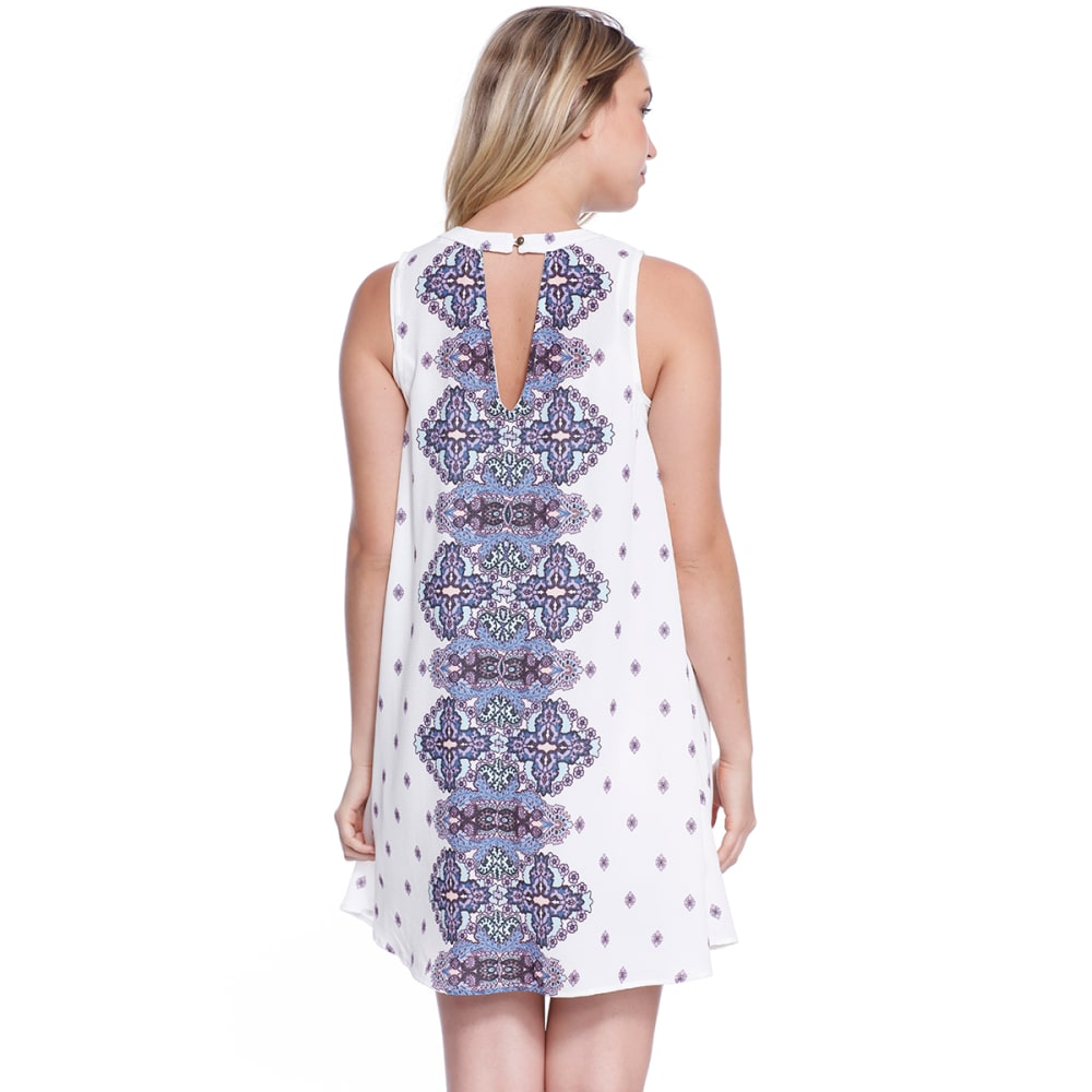 TAYLOR & SAGE Juniors' Keyhole Print Woven Dress - NAS-NATURAL STONE