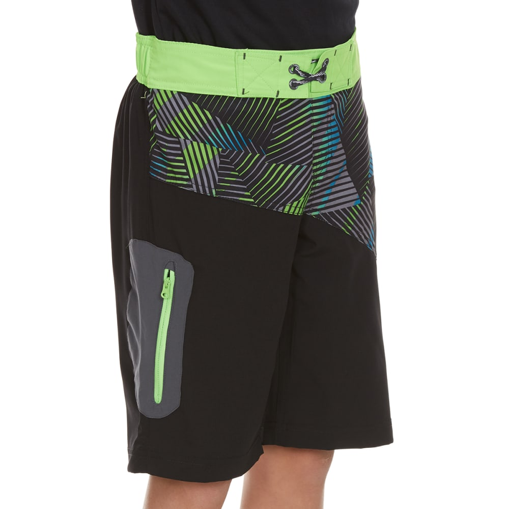 FREE COUNTRY Boys' Impact Zone Spliced Four-Way Stretch Boardshorts - BLACK