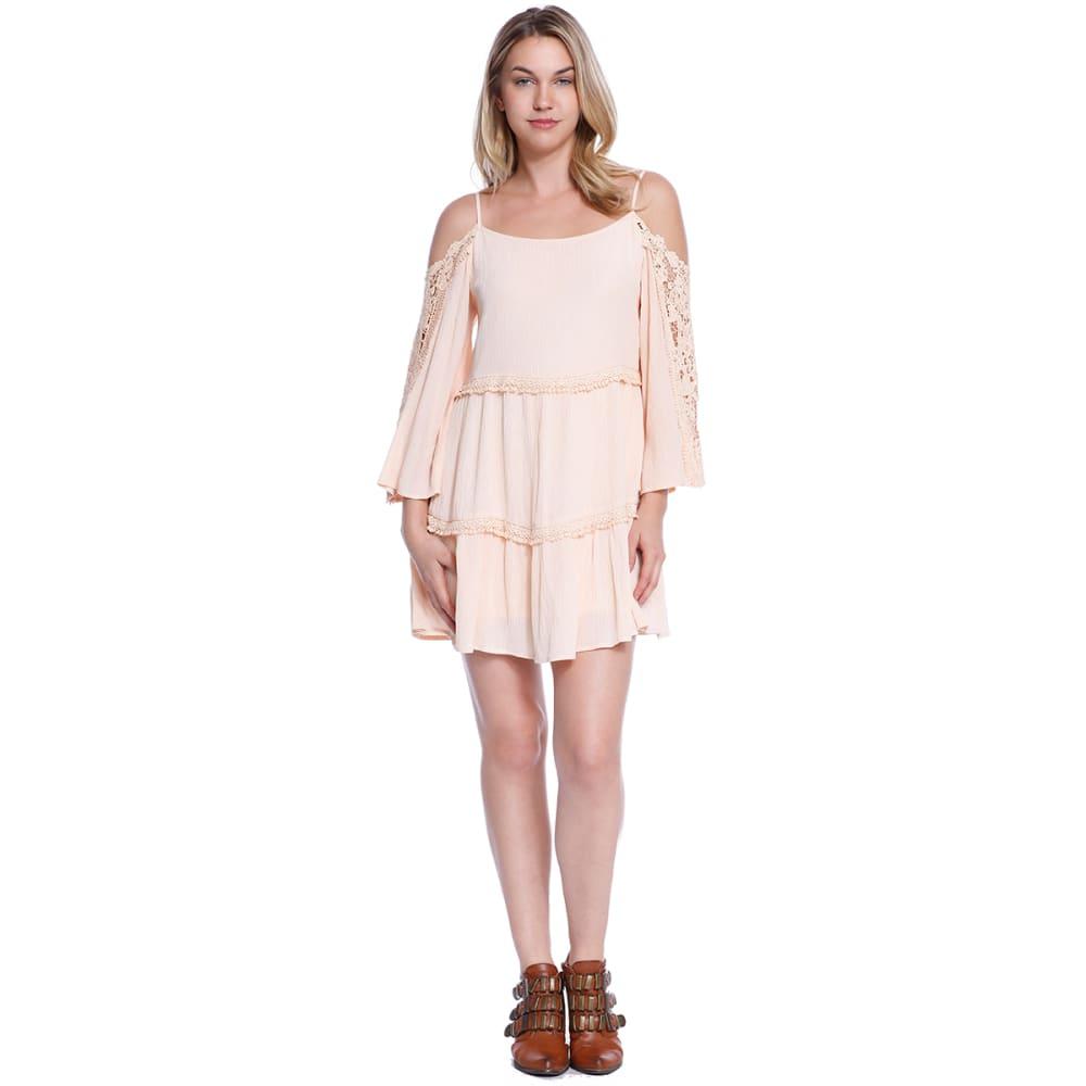 TAYLOR & SAGE Juniors' Cold Shoulder Solid Woven Dress - API-APRICOT