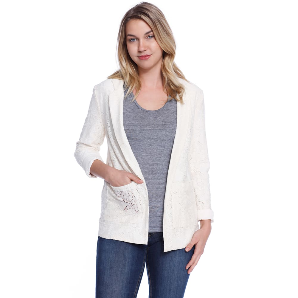 TAYLOR & SAGE Juniors' Lace Blazer - NAT-NATURAL
