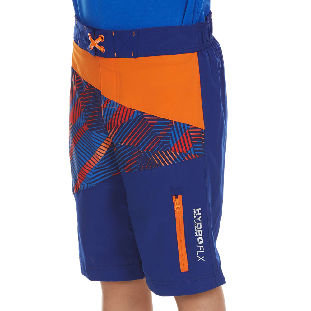 FREE COUNTRY Boys' Impact Zone Double Spliced Four Way Stretch Board Shorts - ORANGE CRUSH/BLUWAVE