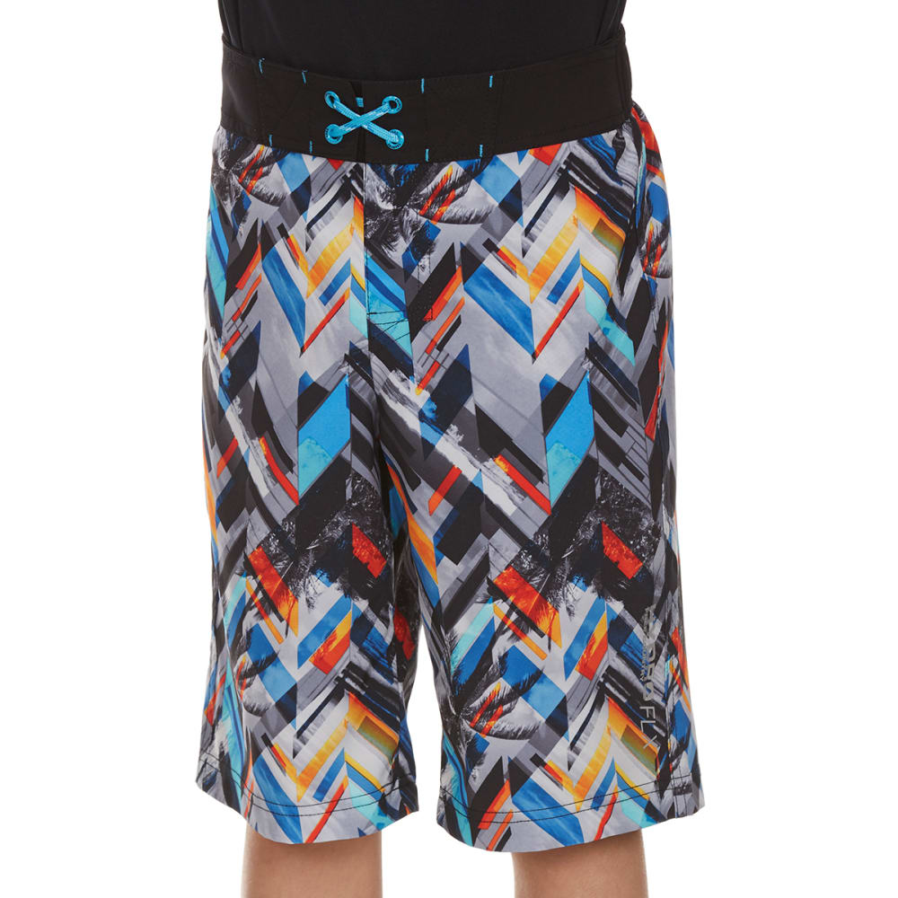 FREE COUNTRY Boys' Drop Off Four Way Stretch Board Shorts - MULTI
