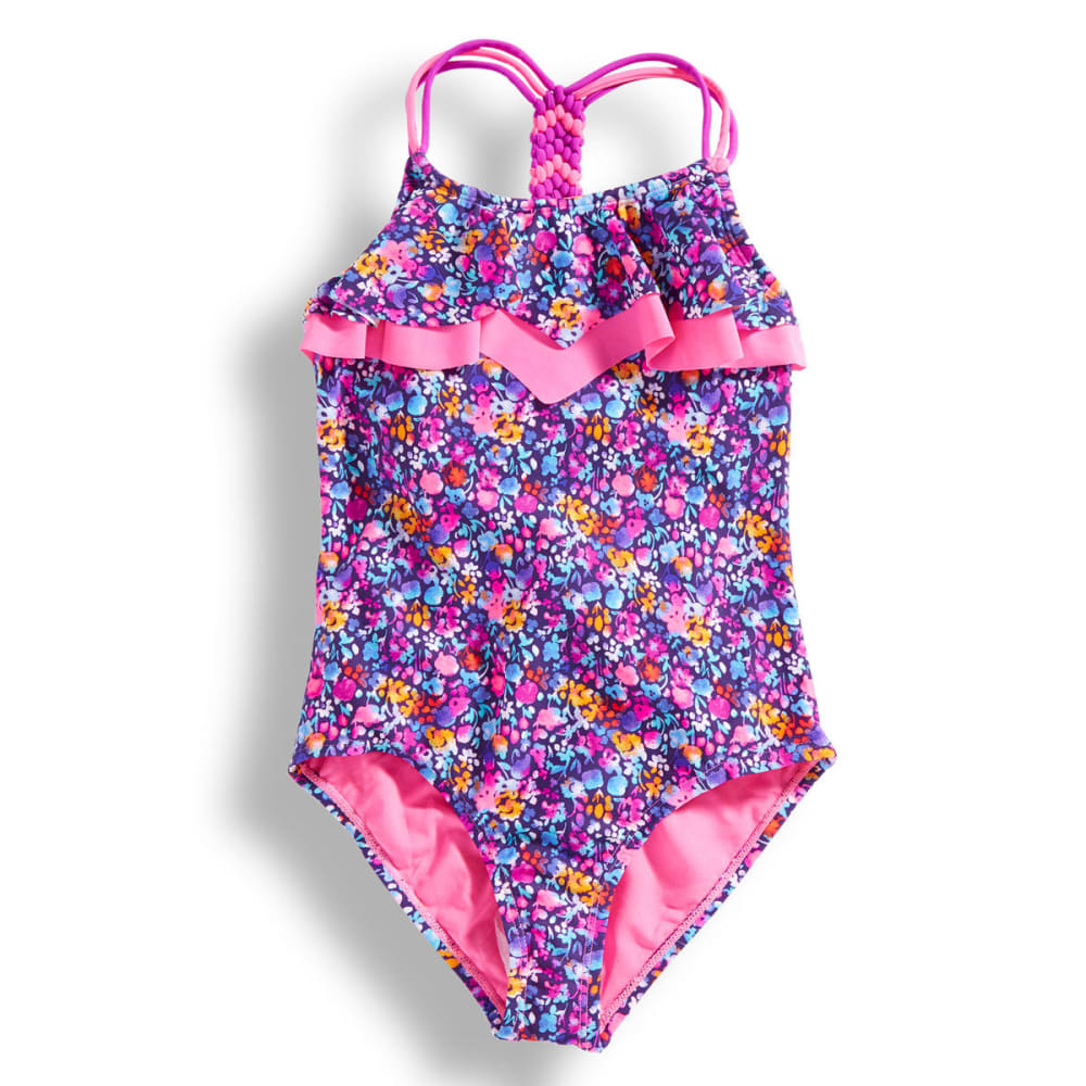 VIGOSS Girls' Nicki Beach Double Flounce Swimsuit - PURPLE COMBO