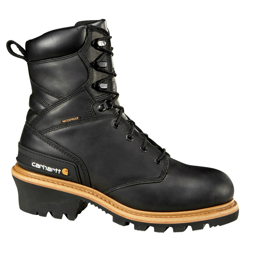CARHARTT Men's 8 in. Waterproof Work Boots, Medium - BLACK OIL TANNED