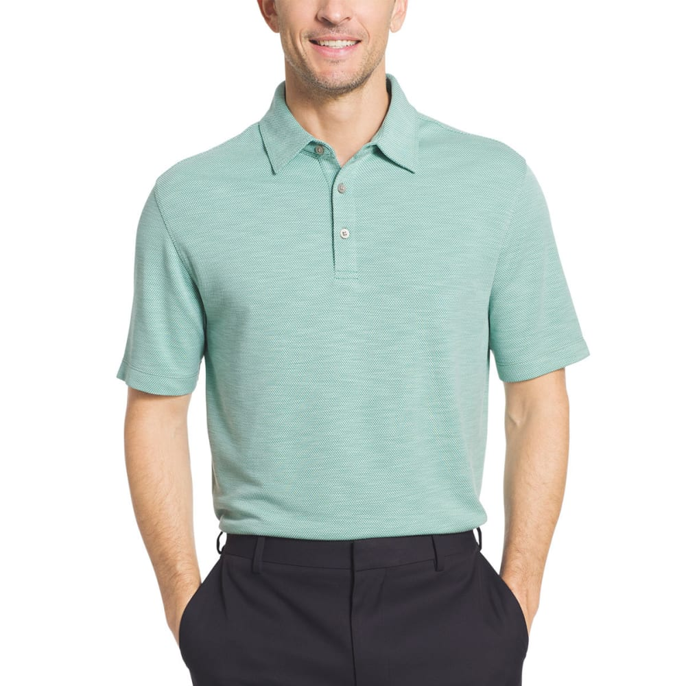 VAN HEUSEN Men's Two-Tone Slub Micro-Box Short-Sleeve Polo Shirt - GRN MALACHITE-368
