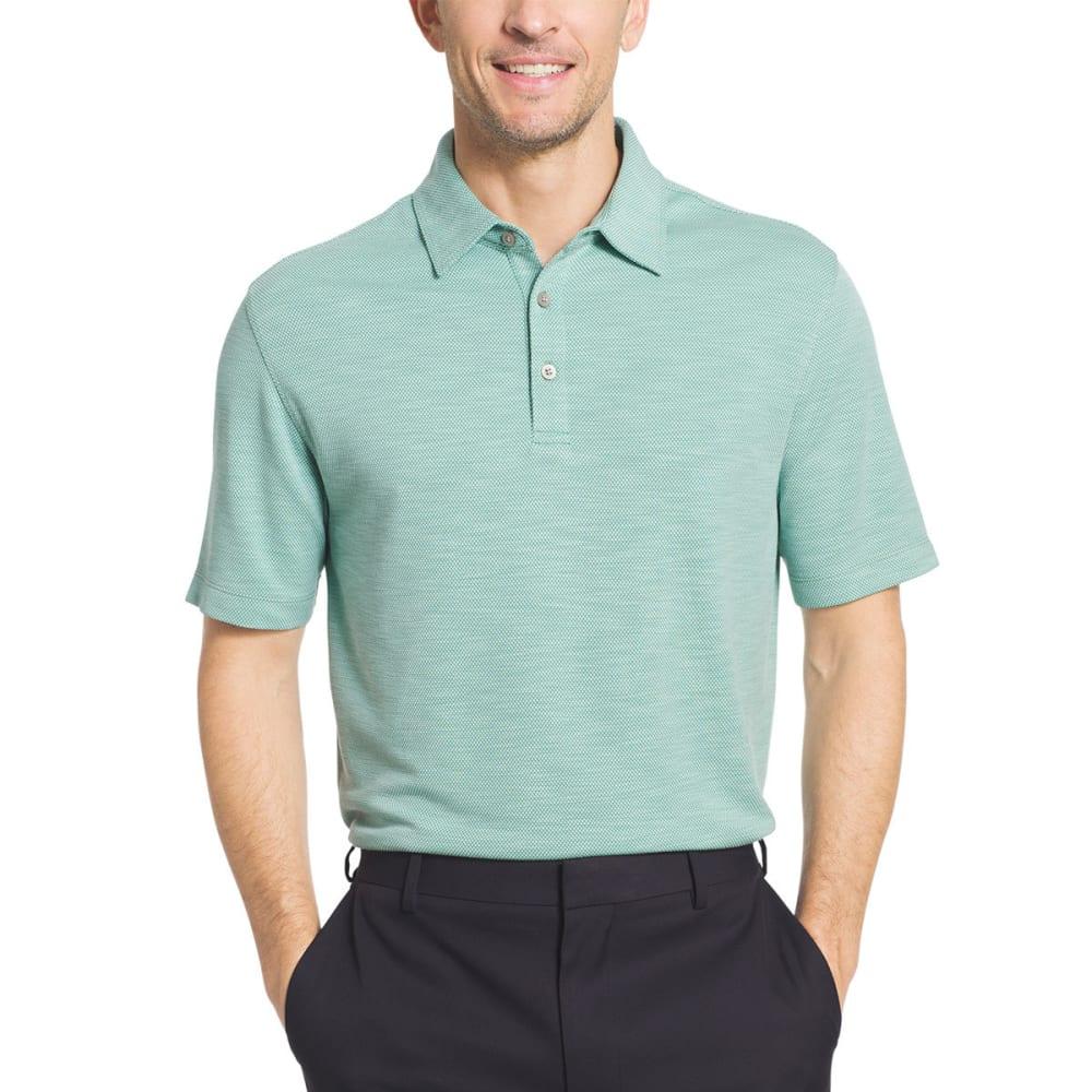 VAN HEUSEN Men's Two-Tone Slub Micro-Box Short-Sleeve Polo Shirt - GRN MALACHITE-368