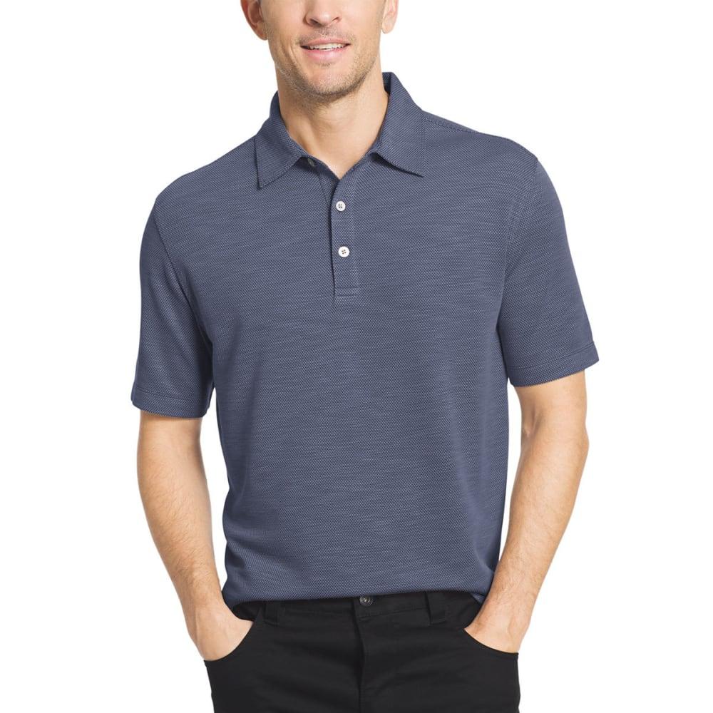 VAN HEUSEN Men's Two-Tone Slub Micro-Box Short-Sleeve Polo Shirt - BLU BLACK-489