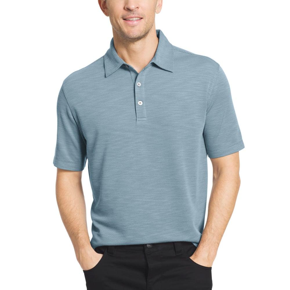 VAN HEUSEN Men's Two-Tone Slub Micro-Box Short-Sleeve Polo Shirt - TURQ DUSK-448