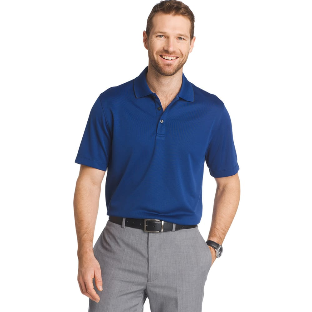 VAN HEUSEN Men's Traveler Two-Tone Pique Polo Shirt - BLU BLACK IRIS-489