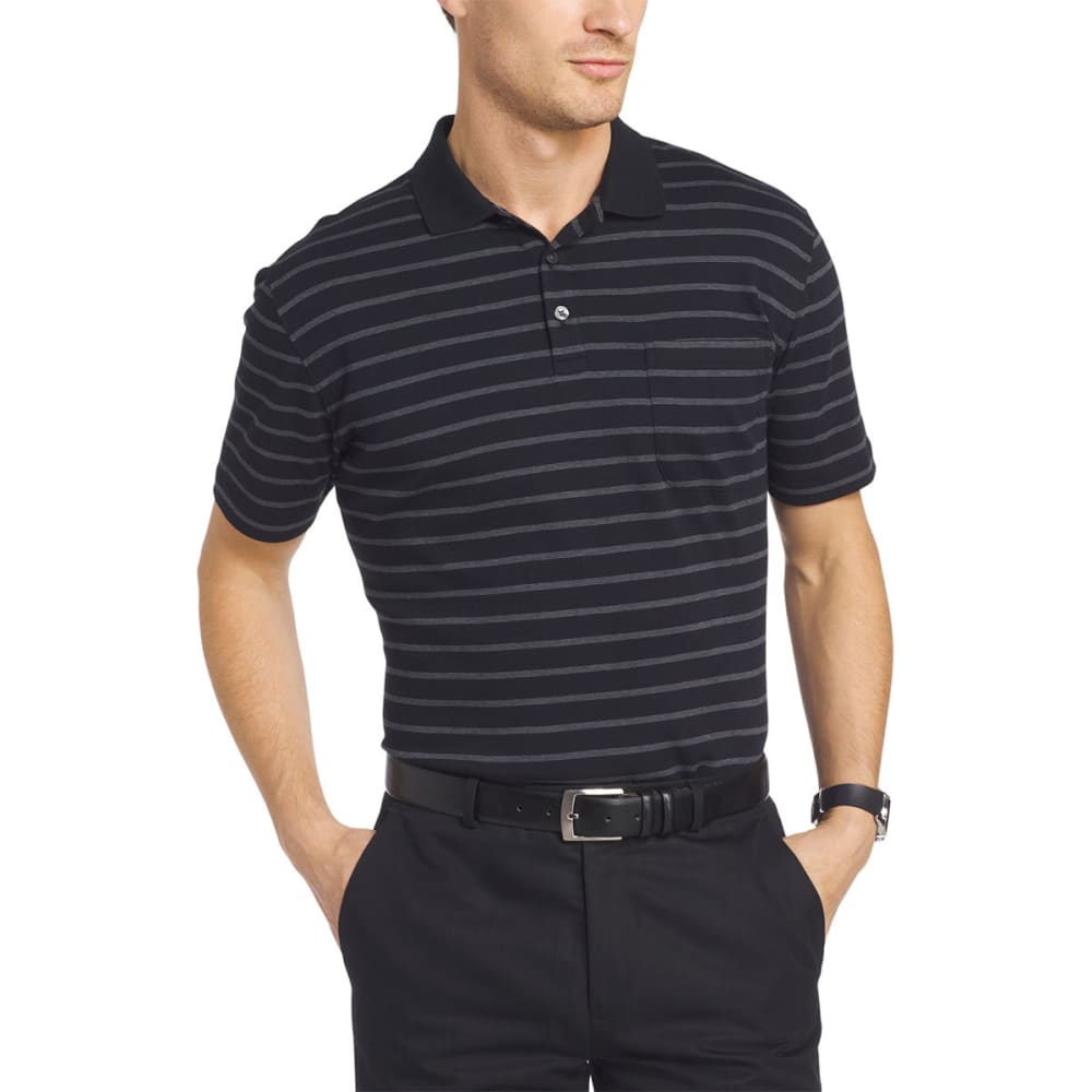 VAN HEUSEN Men's Striped Interlock Polo Short-Sleeve Polo - BLACK-001